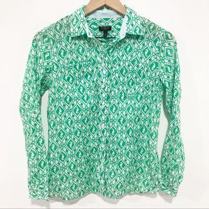 Talbots green & white seahorse buttoned blouse